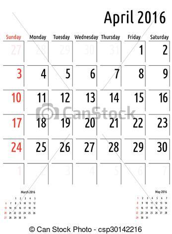 April 2016 calendar with clipart. Vector clip art of