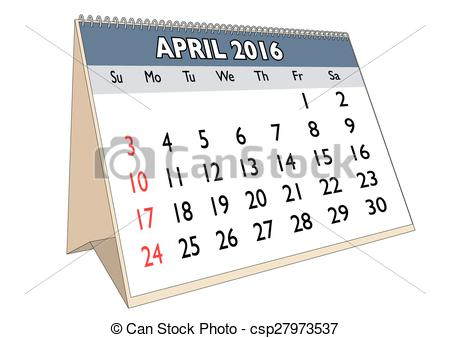 April 2016 calendar with clipart jpg library stock Vectors of April 2016 - April month in a year 2016 calendar in ... jpg library stock