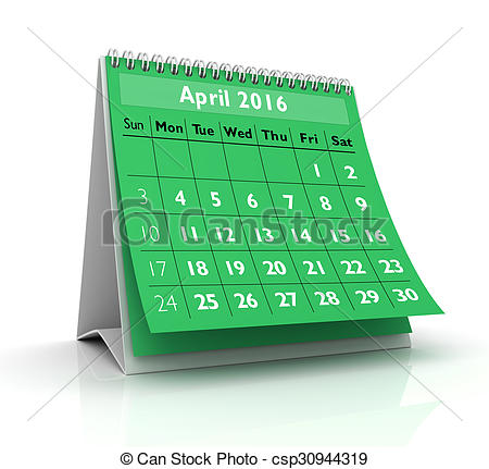 April 2016 calendar with clipart svg free stock Clipart of April 2016 Calendar in white background csp30944319 ... svg free stock
