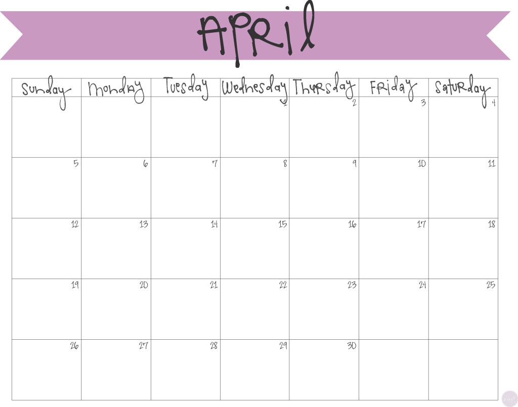 April 2016 clipart calendar clipart freeuse Printable April Calendar clipart freeuse