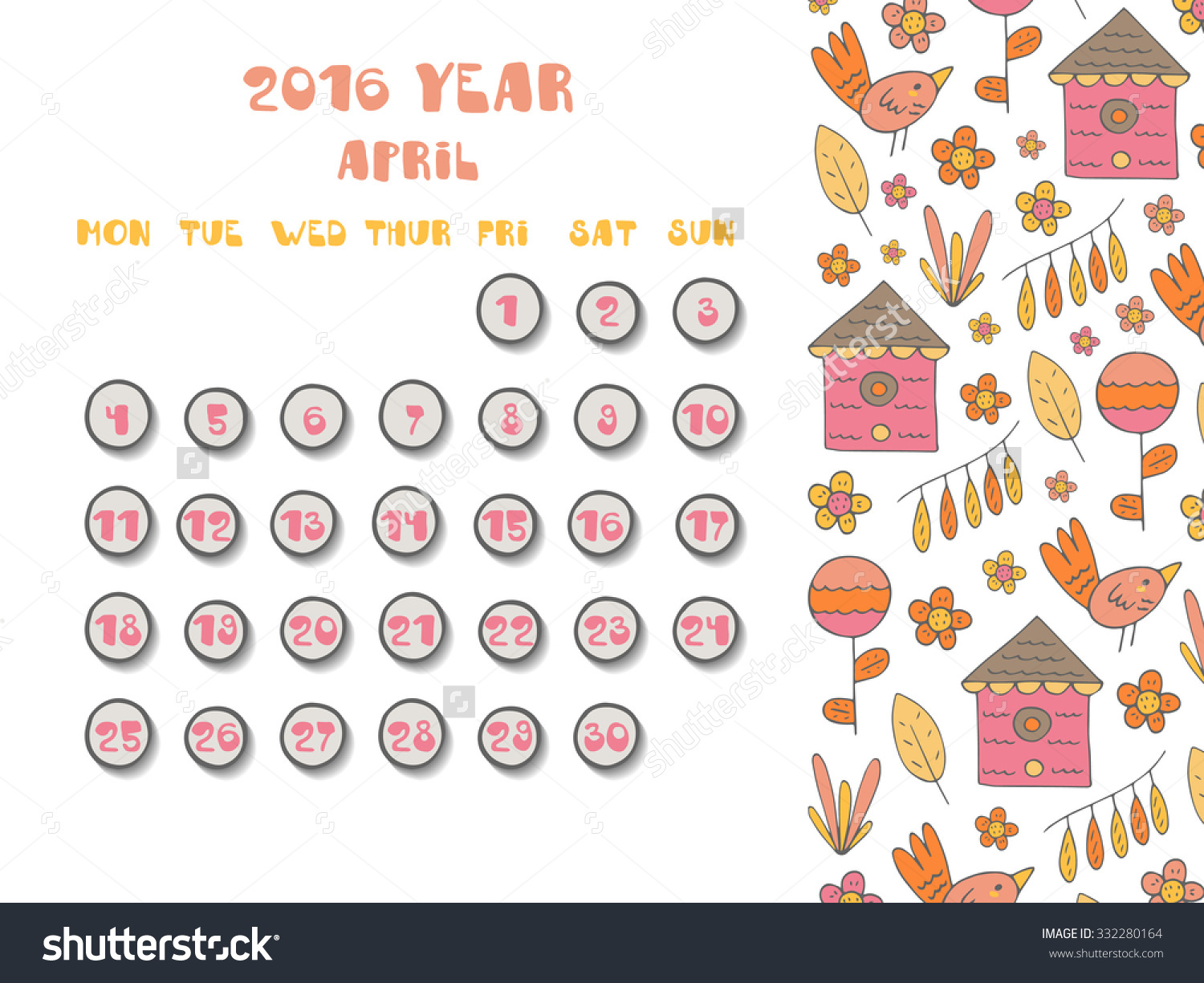 April 2016 clipart calendar picture freeuse download Cute Hand Drawn Doodle April 2016 Stock Vector 332280164 ... picture freeuse download