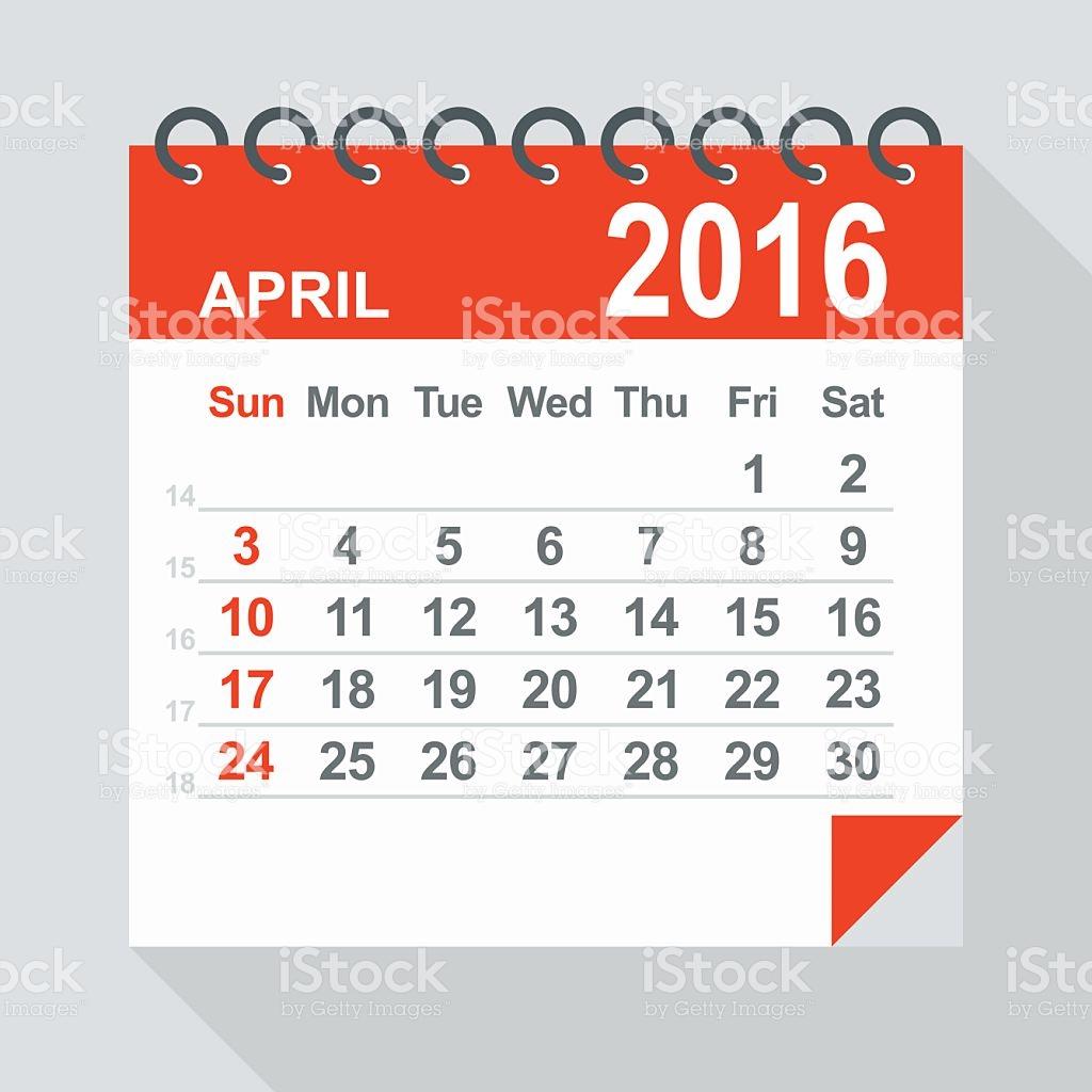 April 2016 clipart calendar image black and white stock April 2016 Calendar Illustration stock vector art 485427630 | iStock image black and white stock