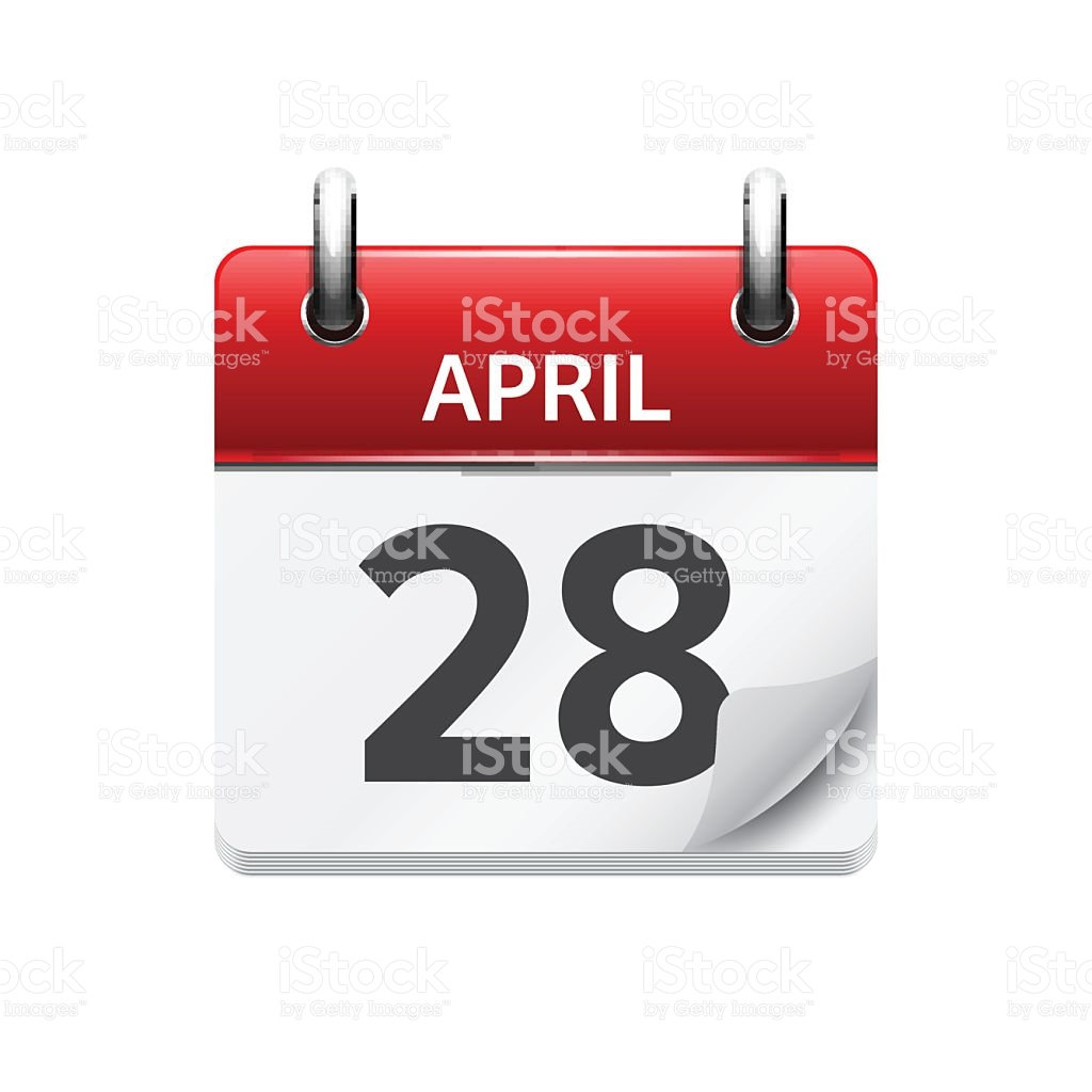 Vector flat daily icon. April 28th calendar clipart