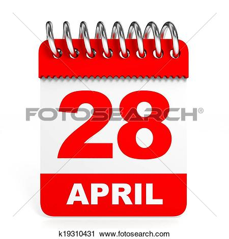 April 28th calendar clipart. Of on white background