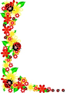 Flowers for word clipart. April borders clip art