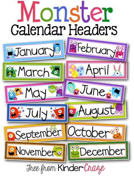 April calendar headings clipart transparent A Sweet and Simple Classroom Calendar transparent