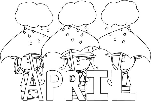 April clip art black and white png library library Black and White Month of April Showers | Clip Art-Months ... png library library