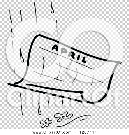 April clipart black and white banner black and white stock Clipart of a Vintage Black and White April Showers - Royalty Free ... banner black and white stock