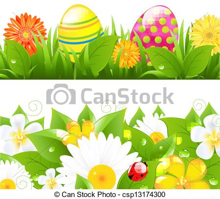 April clipart borders freeuse download Vector Clipart of Set Of Borders With Grass And Color Eggs - 2 ... freeuse download