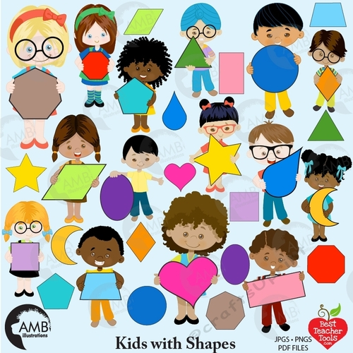 April ethnic kids clipart clip free library Kids with shapes clipart, Shapes clipart, AMB-2304 clip free library