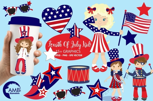 April ethnic kids clipart png library stock Fourth of July clipart, Kids Clipart, Independence Day clipart, 4th of July  clipart, digital clip art, AMB-923 png library stock