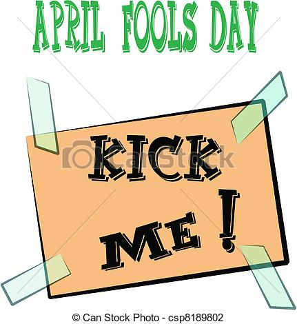 April fools day clip art free jpg black and white library Vector Illustration of april fools day kick me signage - kick me ... jpg black and white library