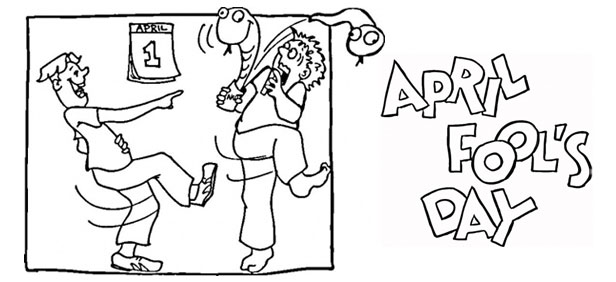 April fools day clipart black and white black and white download April Fools Day Coloring Page black and white download