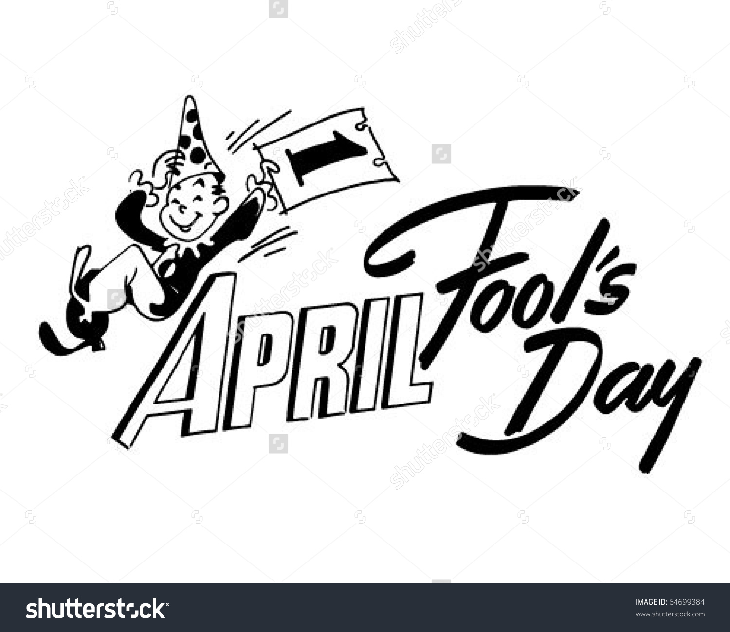 April fools day clipart black and white image library library April Fools Day Ad Header Retro Stock Vector 64699384 - Shutterstock image library library