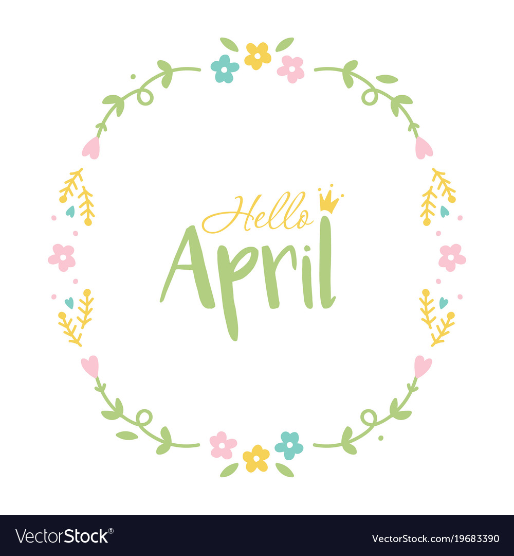 April frame clipart images image stock Hello april floral round frame image stock