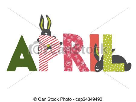 April month clipart. Eps vectors of illustration