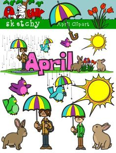 April month clipart. December graphics and monthly