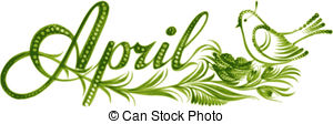 April month clipart. Illustrations and stock art