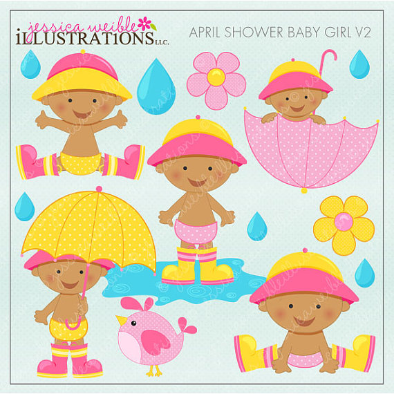 April pretty girl clipart. Clipartfest shower baby v