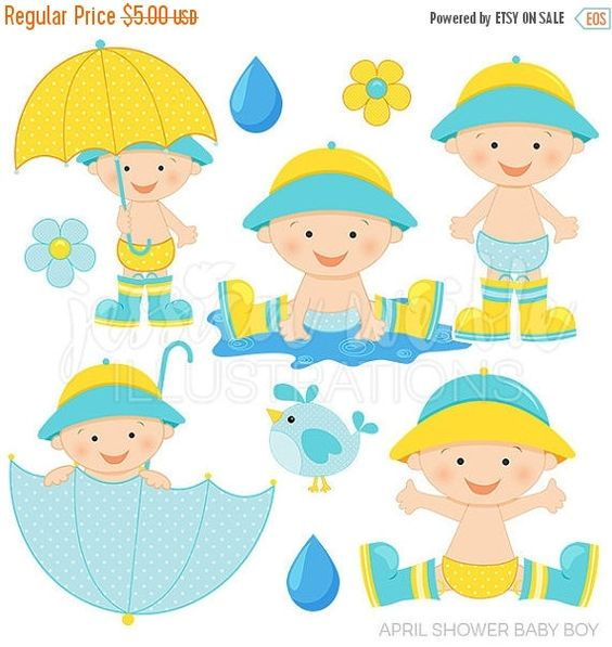 April pretty girl clipart. Shower baby boy cute