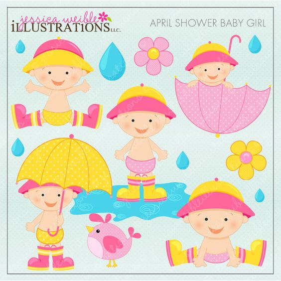 April pretty girl clipart. Clipartfest shower baby