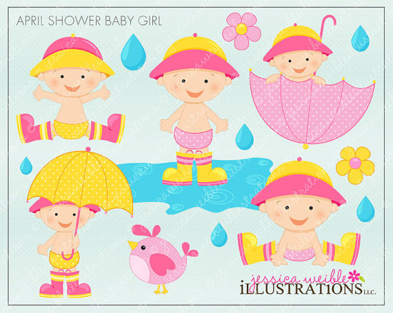 Clipartfest shower baby cute. April pretty girl clipart