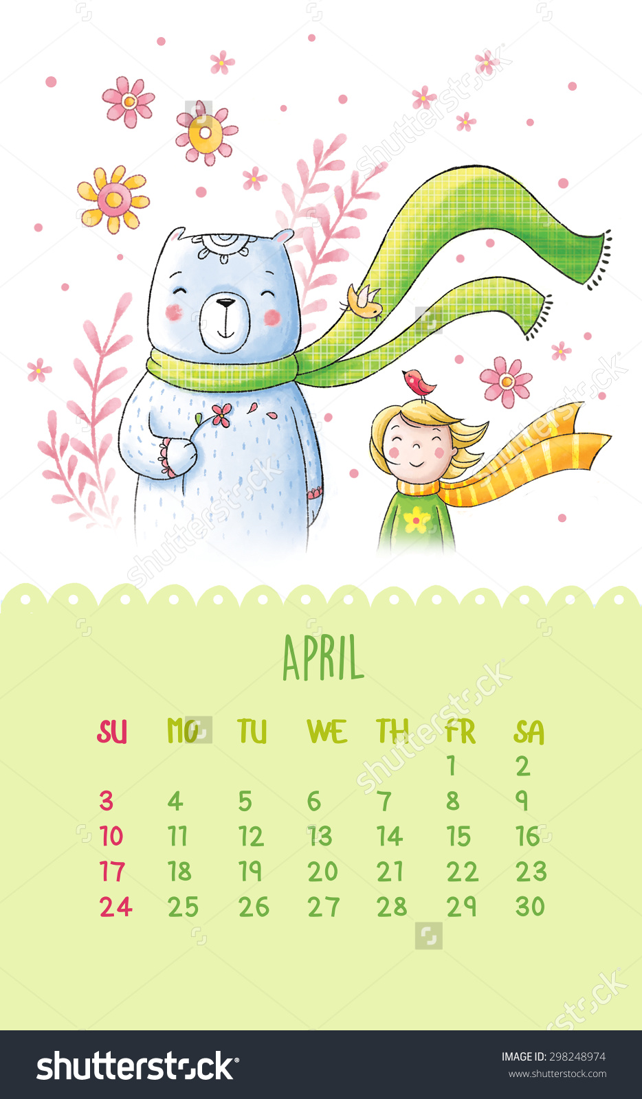 April pretty girl clipart graphic download Cute Calendar 2016 Hand Drawing Illustration Stock Illustration ... graphic download