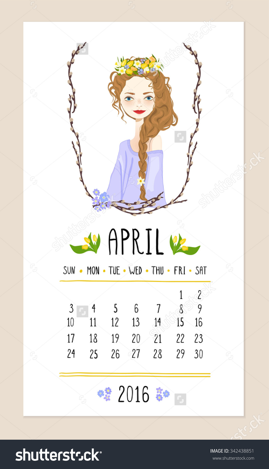 April pretty girl clipart picture royalty free download April. 2016 Calendar With Cute Girl In Wreath Of Seasonal Flowers ... picture royalty free download