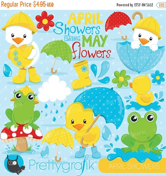 April shower clip art image royalty free library 80% OFF SALE April showers clipart commercial use duck and image royalty free library