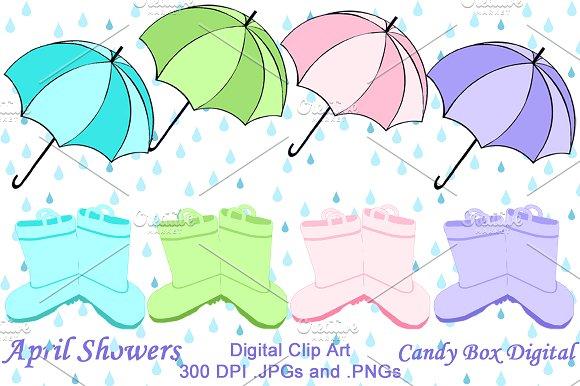 April shower clip art clip freeuse April Showers Clip Art ~ Illustrations on Creative Market clip freeuse