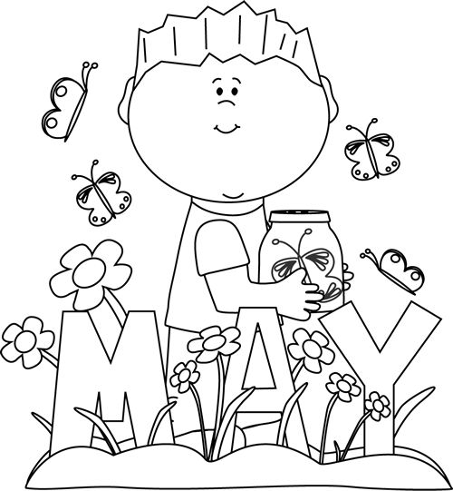 April showers clipart black and white image black and white download Black and White Month of May Spring | Clip Art-Months | Pinterest ... image black and white download