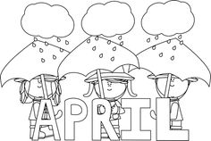 April showers clipart black and white image library stock April clip art black and white - ClipartFox image library stock