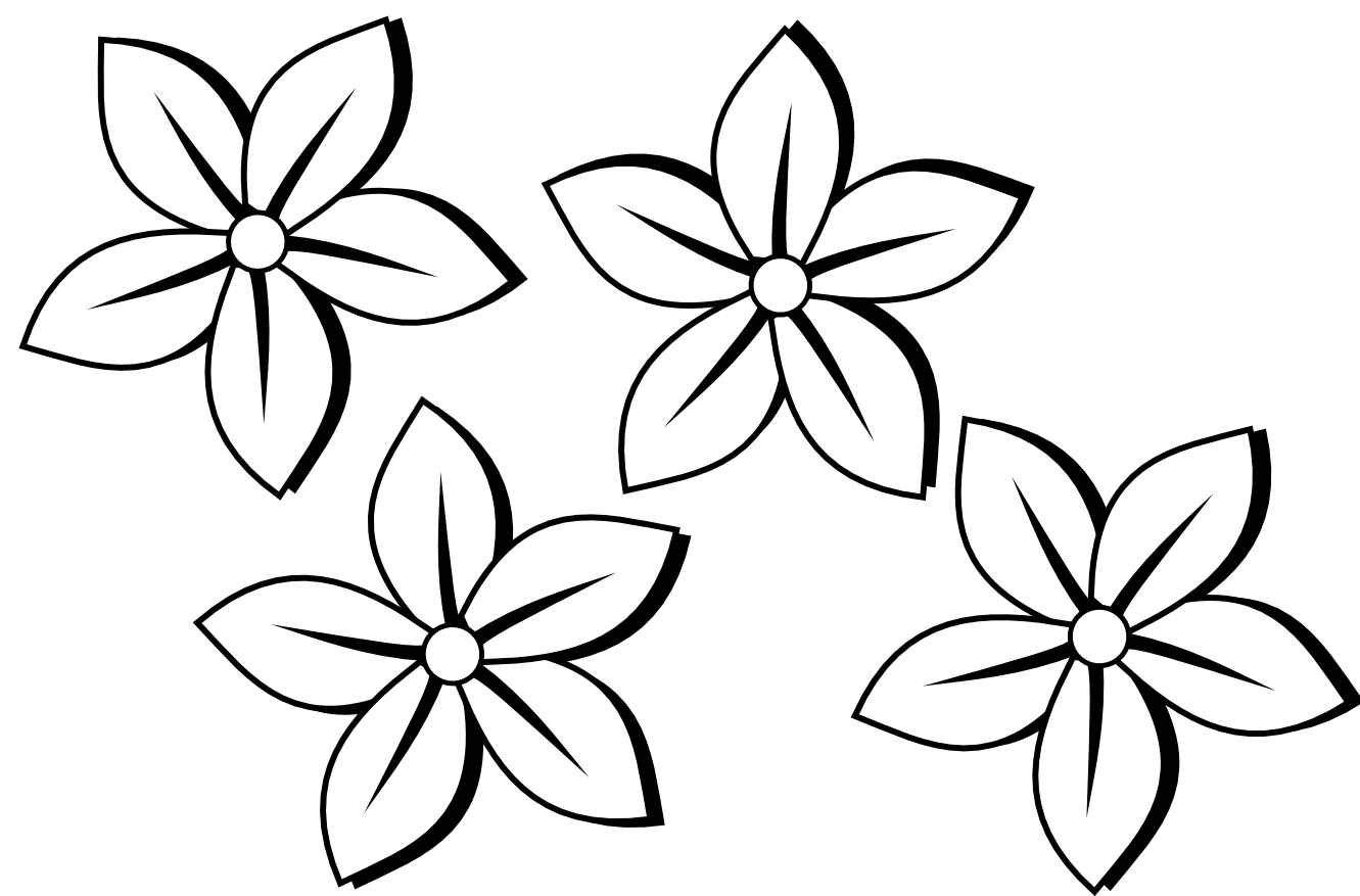 Flower group clipart clip black and white library clipartist.info four flowers flora 80 black white line art tattoo ... clip black and white library