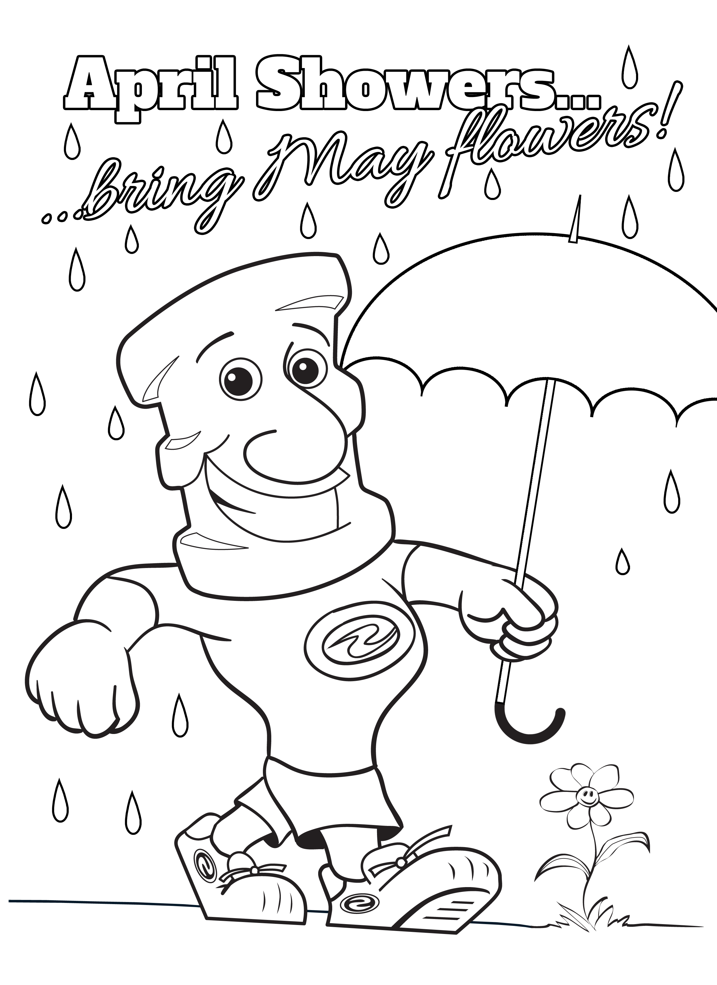April showers clipart to color transparent stock April Showers Coloring Pages - Coloring Pages & Books transparent stock