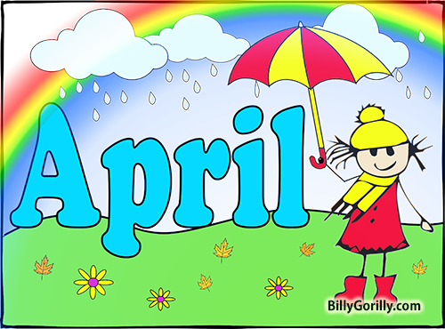 April showers clipart to color jpg for Teaching Young Children TweetApril jpg