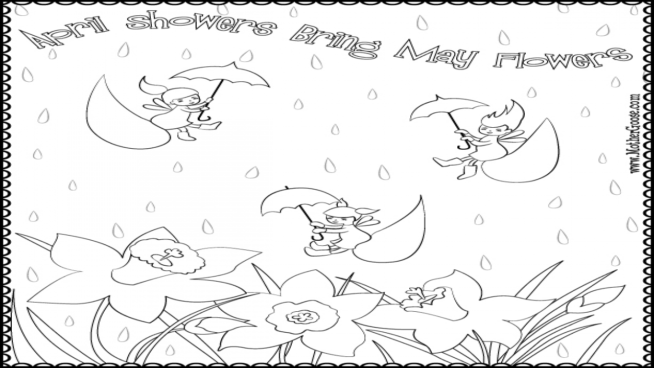 April showers clipart to color clip art freeuse stock April Showers Coloring Pages - Coloring Pages & Books clip art freeuse stock