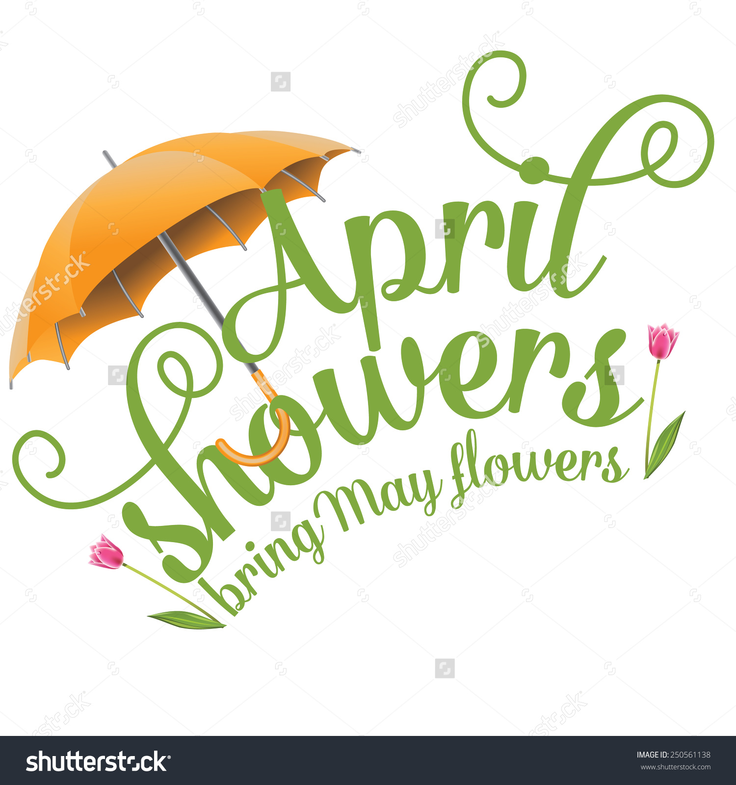 April showers clipart to color banner royalty free library April Showers Bring May Flowers Design Stock Vector 250561138 ... banner royalty free library