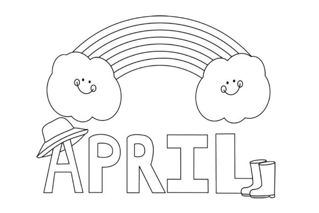 April showers clipart to color png free stock 15 April Coloring Pages for Kids png free stock