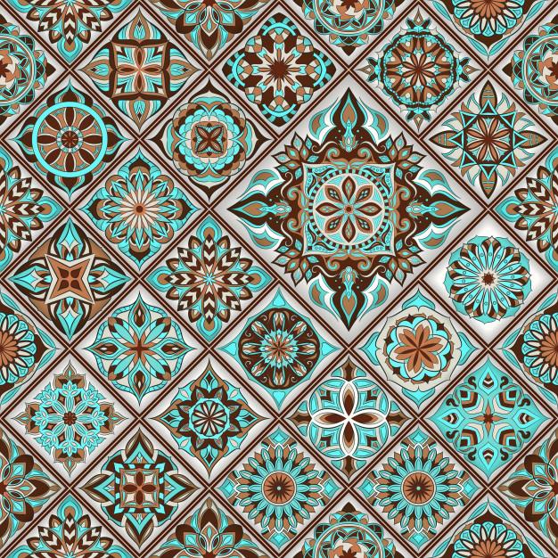 Aqua blue brown mandala clipart freeuse Ethnic floral seamless pattern with vintage mandala elements. Vector ... freeuse