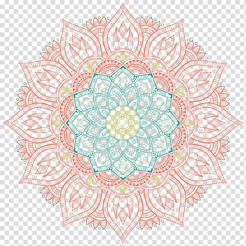 Aqua blue brown mandala clipart graphic stock Red and blue floral mandala illustration, Circle Motif Pattern ... graphic stock