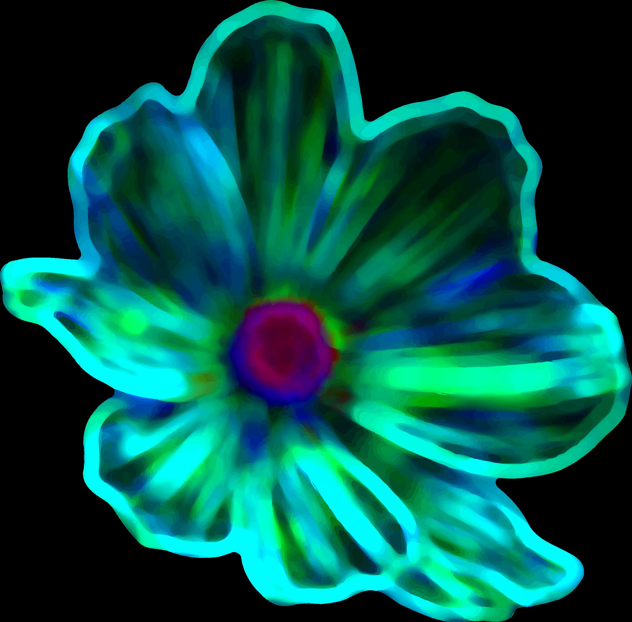 Aqua flower clipart vector black and white download Clipart - Neon flower (colour 3) vector black and white download