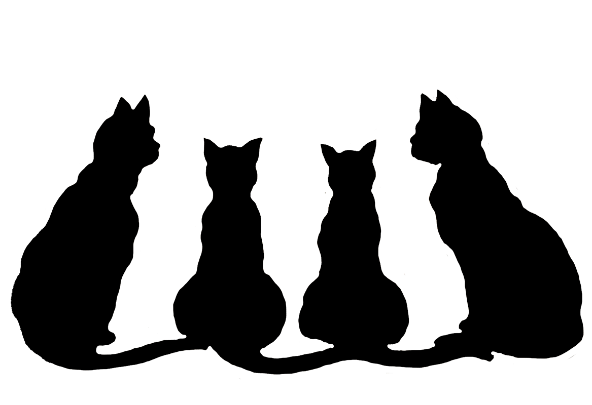 Cute black cat clipart. Halloween cats for happy