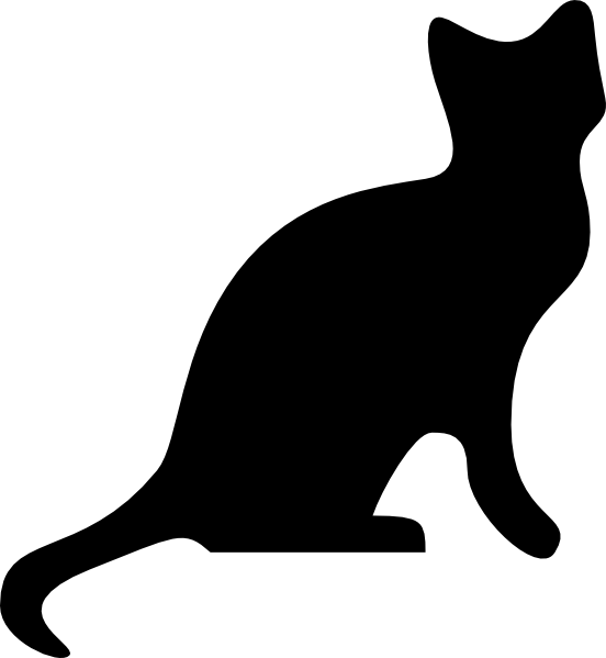Cat and dog sitting silouette clipart