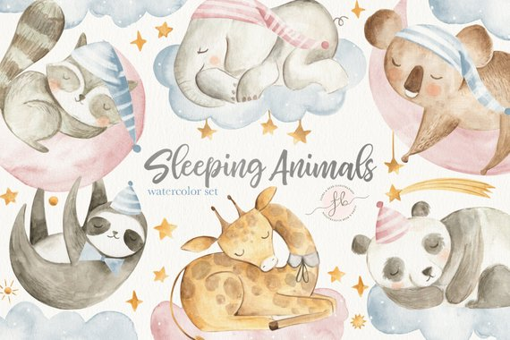 Aquamarine sleeping bag clipart graphic transparent stock Baby Animals Watercolor Clipart Digital Download Nursery Art ... graphic transparent stock