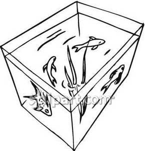 Broken fish tank clipart black and white