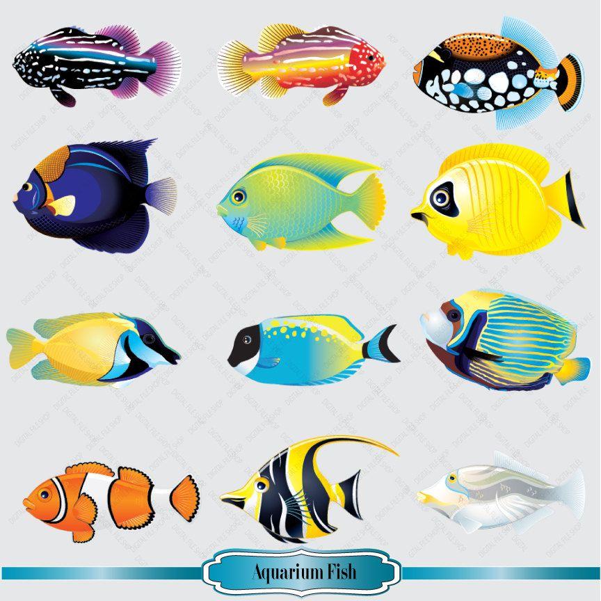 Aquarium fish images clipart banner freeuse download Aquarium Fish Clipart Set Salt Water Fish Clip by DigitalFileShop ... banner freeuse download