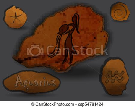 Aquarius elephant clipart image black and white Aquarius.Zodiacal constellation in the form of cave painting. image black and white