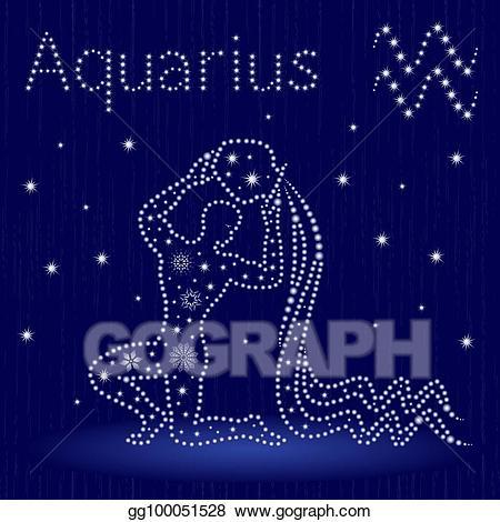 Aquarius elephant clipart graphic transparent download Vector Art - Zodiac sign aquarius with snowflakes. Clipart Drawing ... graphic transparent download