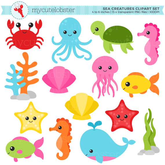 Baby girl ocean life clipart svg black and white stock Sea Creatures Clipart Set - sea animals clip art, crab, fish ... svg black and white stock