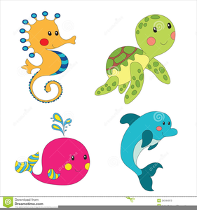Aquatic animals clipart vector black and white stock Cartoon Ocean Animals Clipart | Free Images at Clker.com - vector ... vector black and white stock